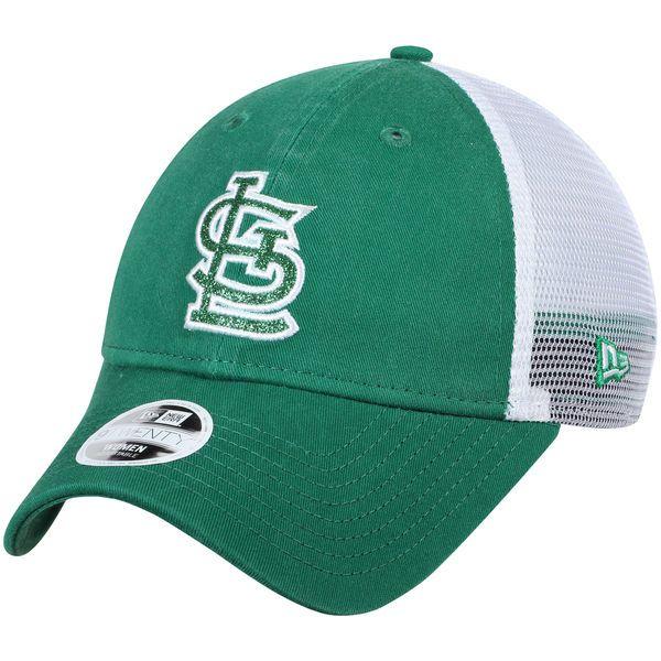 sports shoes c653f 1a2b1 Women s St. Louis Cardinals New Era Green Trucker Shine St. Patrick s Day 9TWENTY  Adjustable Hat