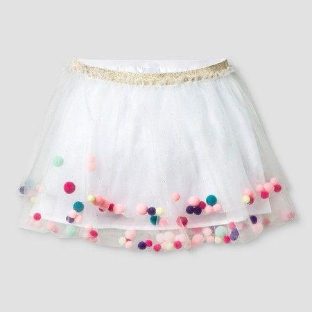 864bcdc78d3 Girls  Tutu Skirt with Pom Poms Cat   Jack™ - White L   Target