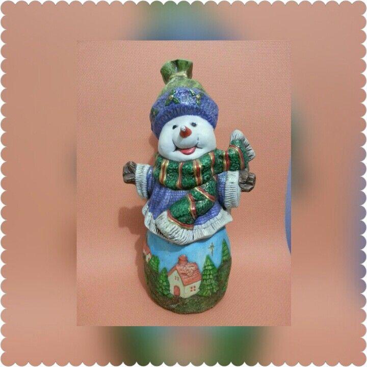 Pieza Cerámica Muñeco de Nieve