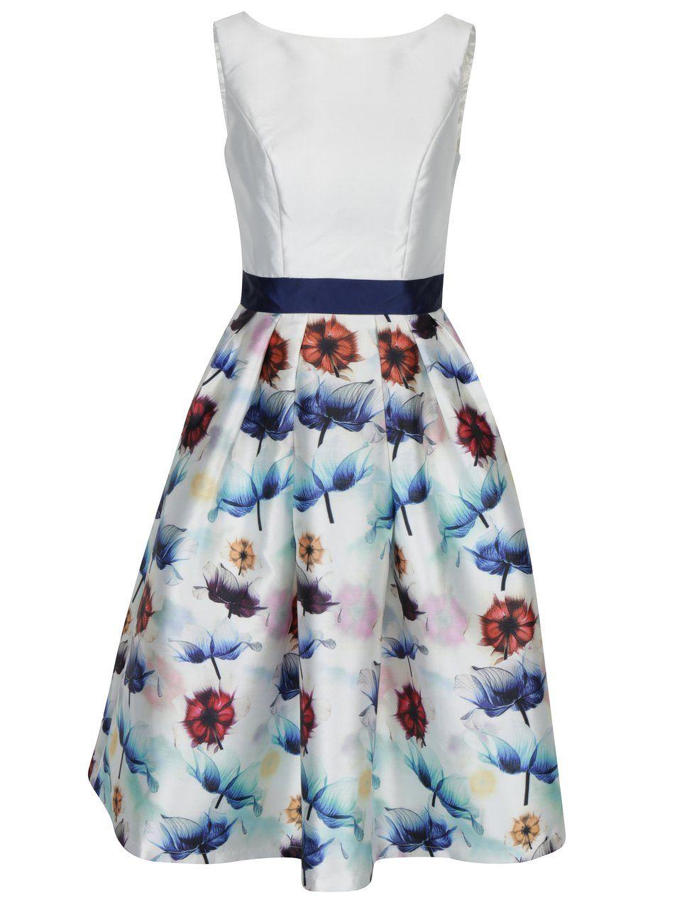Krémové šaty s květovanou sukní Chi Chi London Omari  91ffac528c