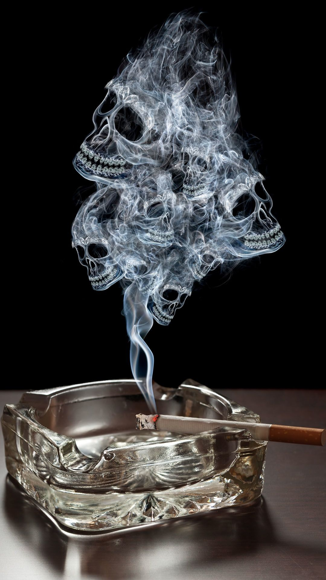Smoke Skulls Ashtray Burning Cigarette iPhone 6 Plus HD