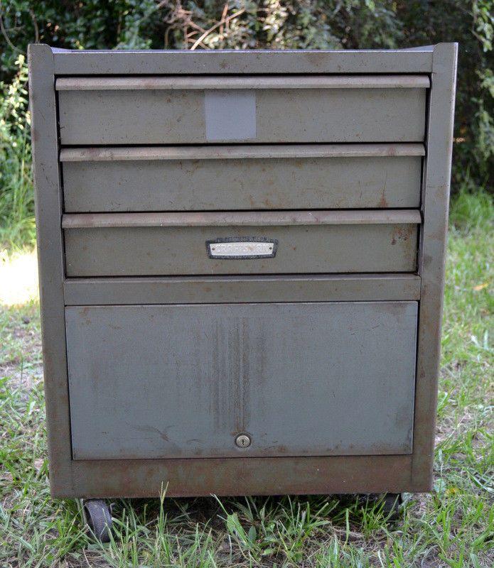 Large Vintage Craftsman Rolling Toolbox Tool Chest Cabinet Steel Grey 3 Drawer Vintage Craftsman Tool Box Tool Chest