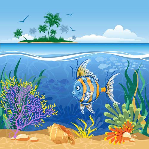 Beautiful Underwater World vector 03 - Vector Scenery free ...