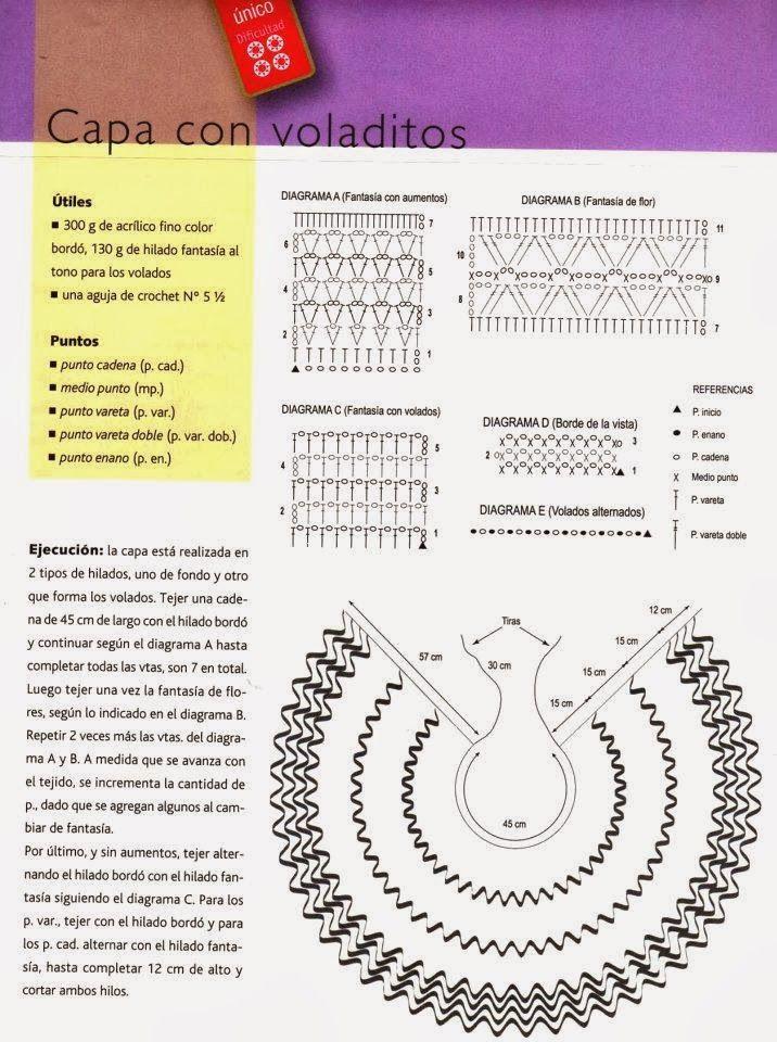Capa con Volantes Crochet Patron - Patrones Crochet | Crochet ...