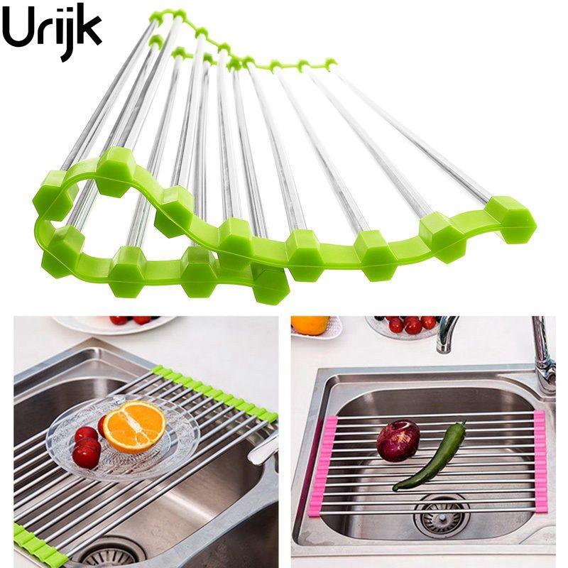 Urijk 1Pc Multifunction Folding Kitchen Sink Drain Rack Stainless ...
