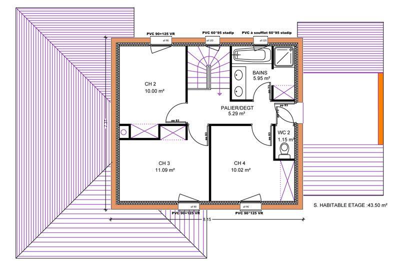 Plan maison 4 chambres 130m2 for Plan maison etage 2 chambres