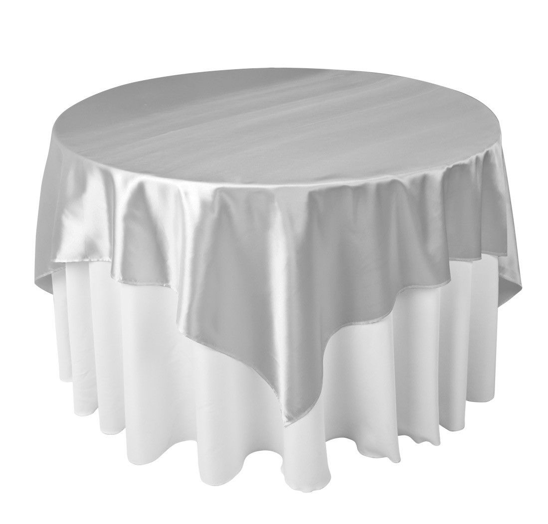 Silver Wedding Overlays For Tables | Satin Table Cloth Table Overlay |  Seating Solutions Utah