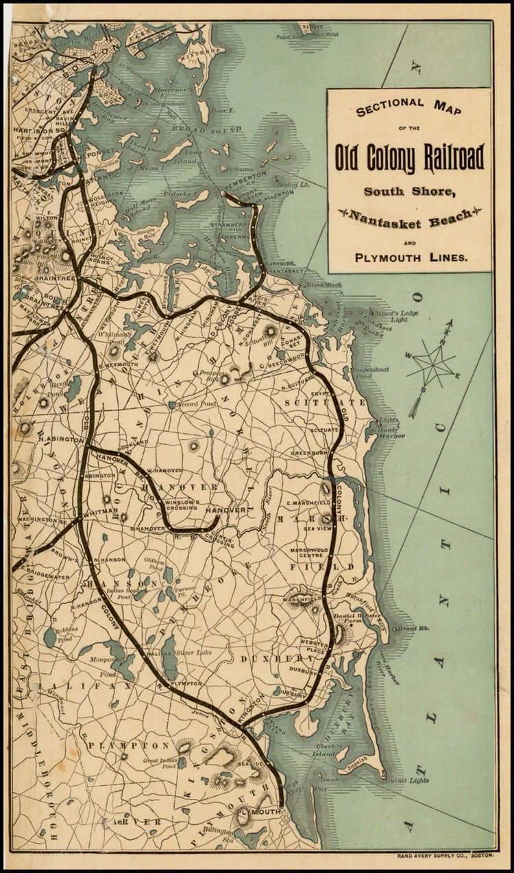 Sectional Map of the Old Colony Railroad South Shore, Nantasket Beach and Plymouth Lines - Barry Lawrence Ruderman Antique Maps Inc.