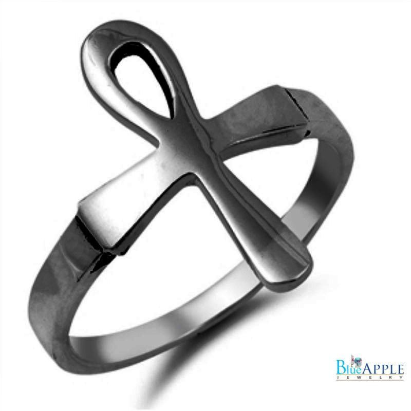 dd3443d347527 Ankh Ring Black Gold Solid 925 Sterling Silver Plain Simple Dainty ...