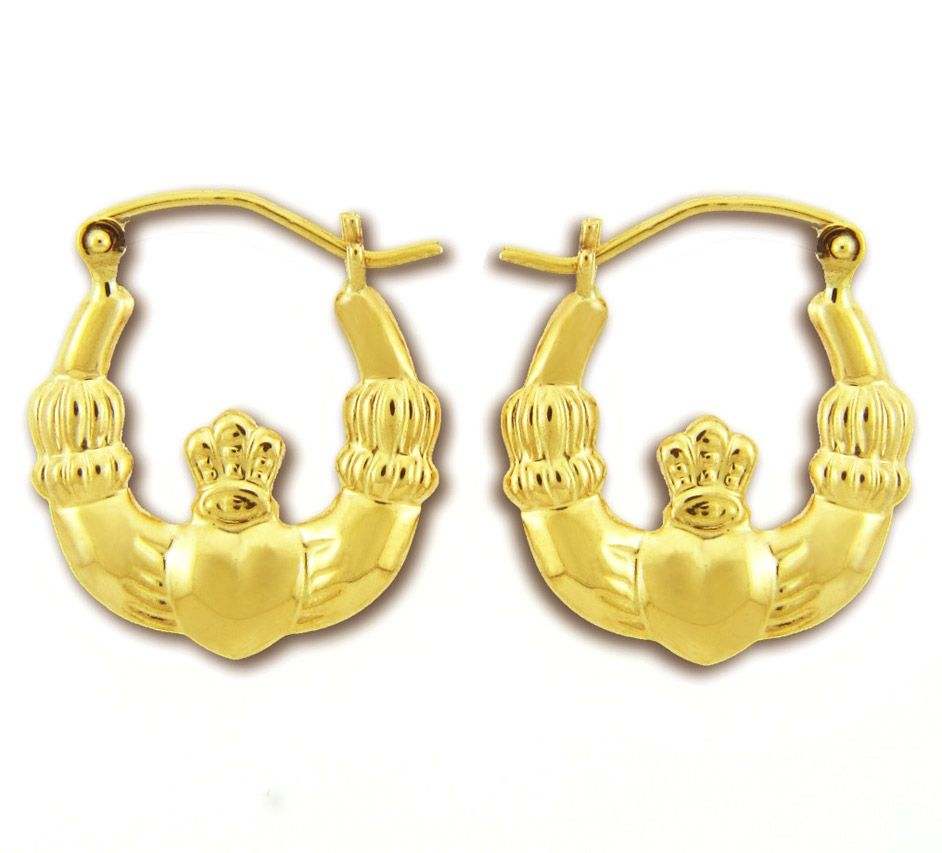 7fbc35637b8fe Jewelry - Earrings: Claddagh earrings in solid 9ct yellow gold. Now ...
