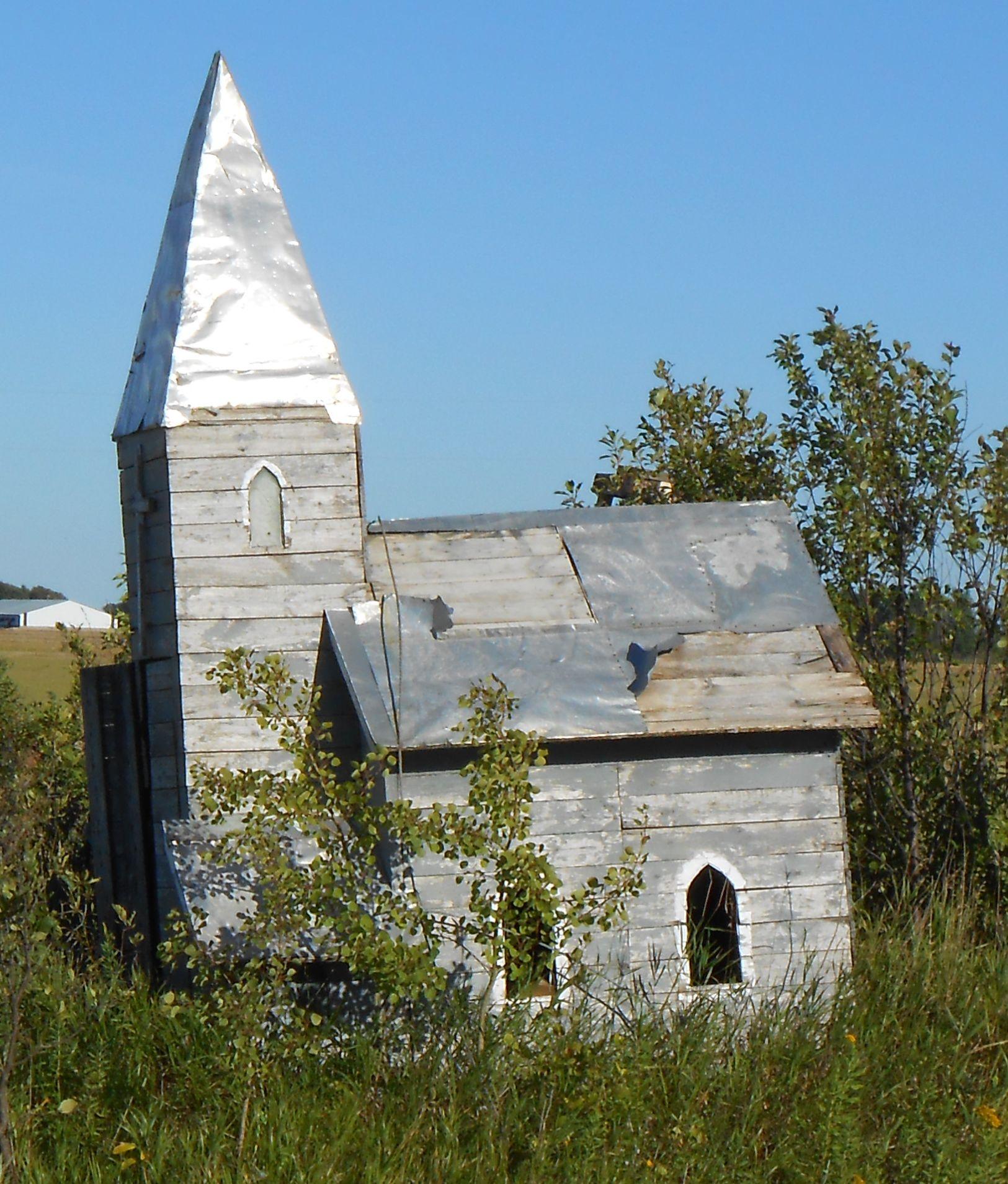 802. Miniature Village, Dilapidated Church, near Badger, Roseau County, Minnesota - Photo by Eunice Korczak