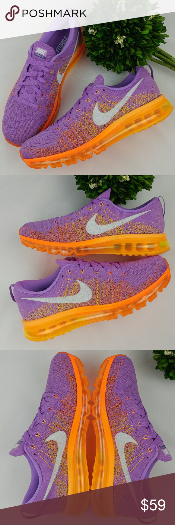 new style ecaa2 aea5d Nike Flyknit Air Max Womens shoes Atomic Purple Nike Flyknit Air Max Womens  Sneakers Atomic Purple White - Total Orange Feature Flyknit technology on  the ...
