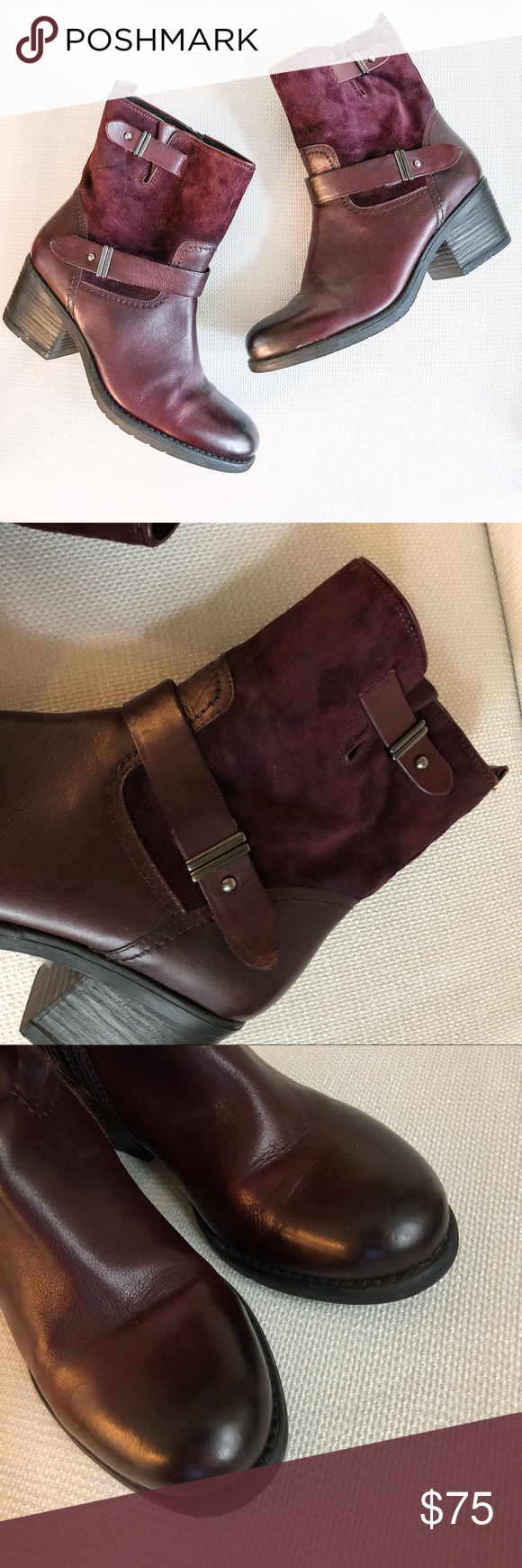 Clarks Mojita Sorbet bucked suede boots burgundy Adorable Clarks boots in  burgundy - perfect for Fall! Suede top section and leather on the bottom.