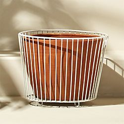 wire and terracotta large white planter