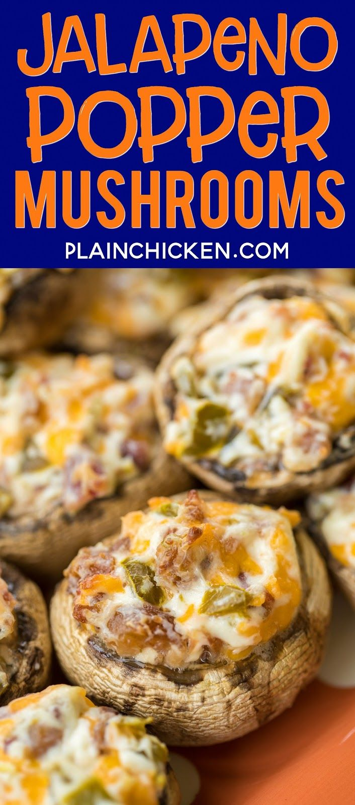 Jalapeno Popper Mushrooms - always the first thing to go at parties! Mushrooms stuffed with cream cheese, garlic, cheddar cheese, bacon and jalapeños. Seriously delicious! Can prep mushrooms ahead of time and refrigerate until ready to bake. Great for parties or a low-carb snack.