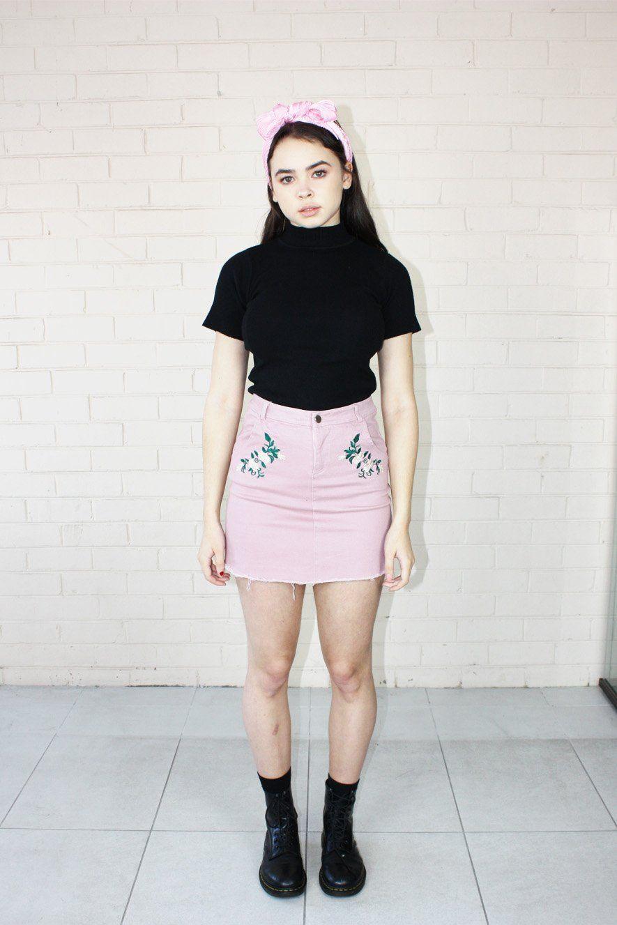 c59227c39af Olivia Embroidered Mini Skirt Pink – Grandma Funk