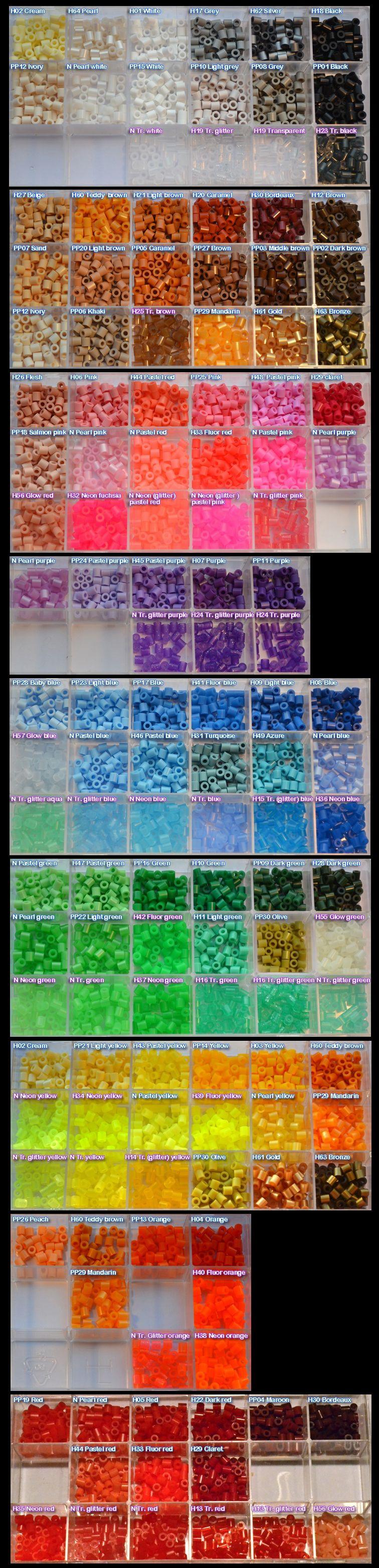 Fuse bead colors Perler Hama Nabbi black white brown purple