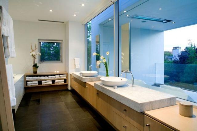Badezimmer Ideen-asiatisches ambiente-waschtisch oberfäche-marmor