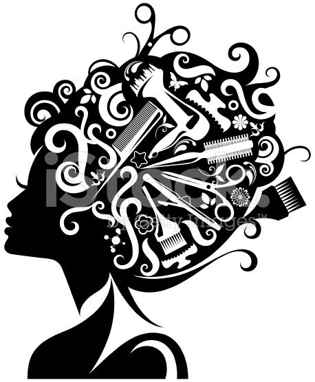 Lady S Silhouette With Hairdressing Accessories Composed With Her