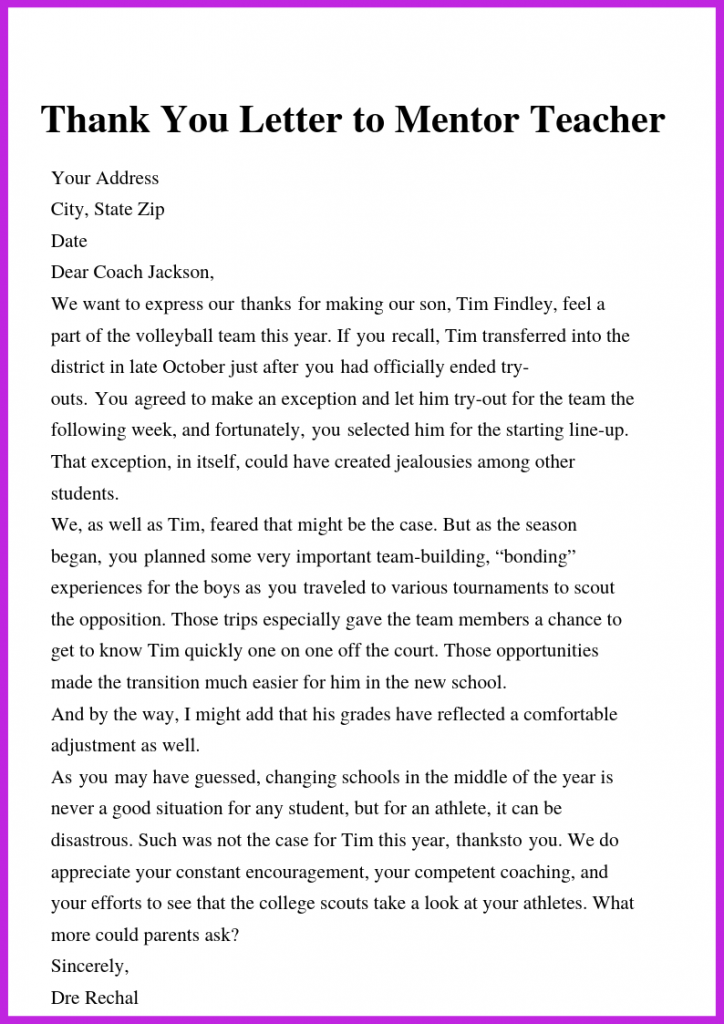 Thank You Letter To Mentor Teacher Letter To Teacher Thank You Letter Thank You Letter Template