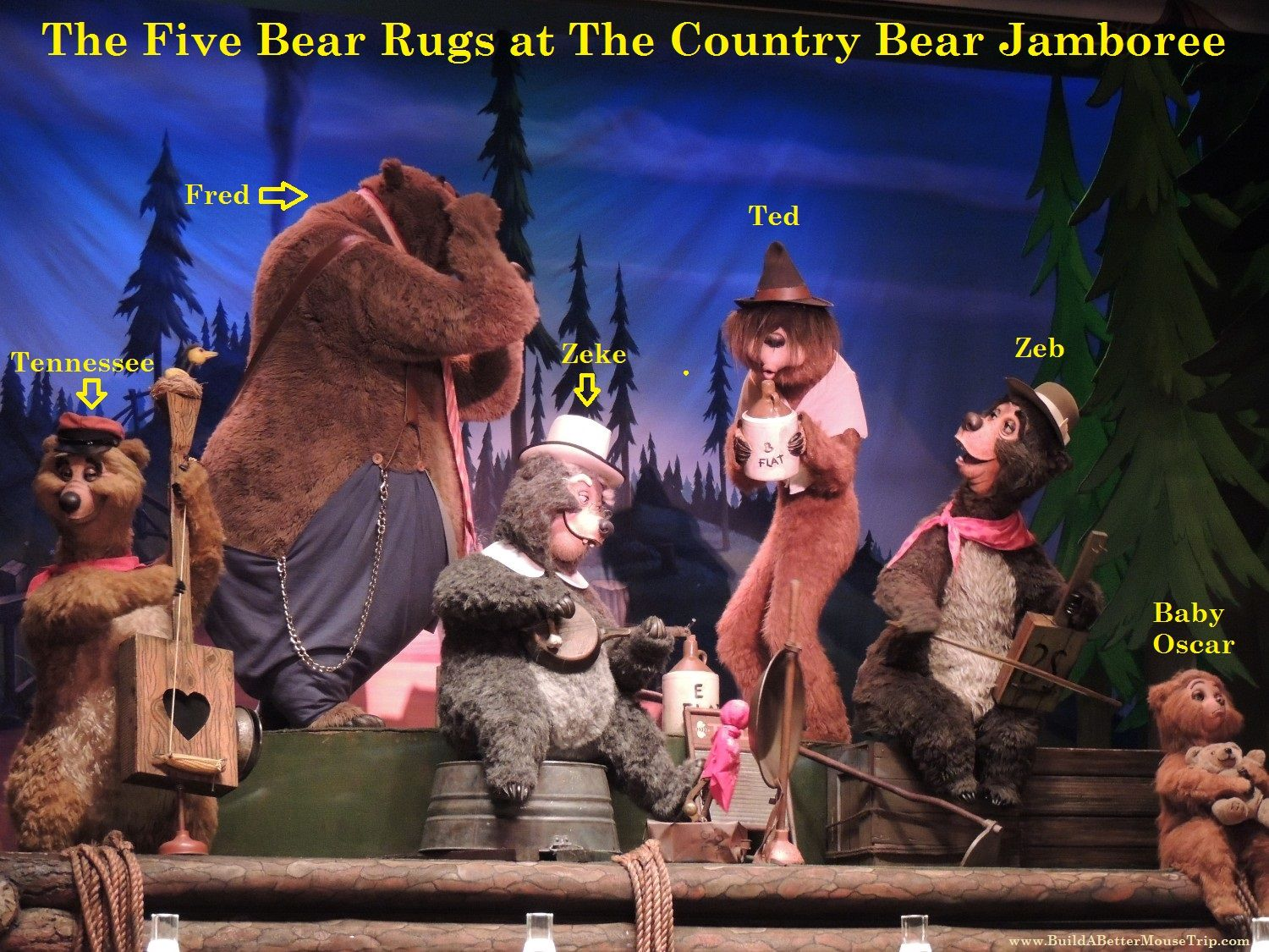 """""""The Five Bear Rugs"""" band at the Country Bear Jamboree in the Magic Kingdom at Disney World.   In case you're wondering, Zeb is the father of Baby Oscar.   #CountryBears"""