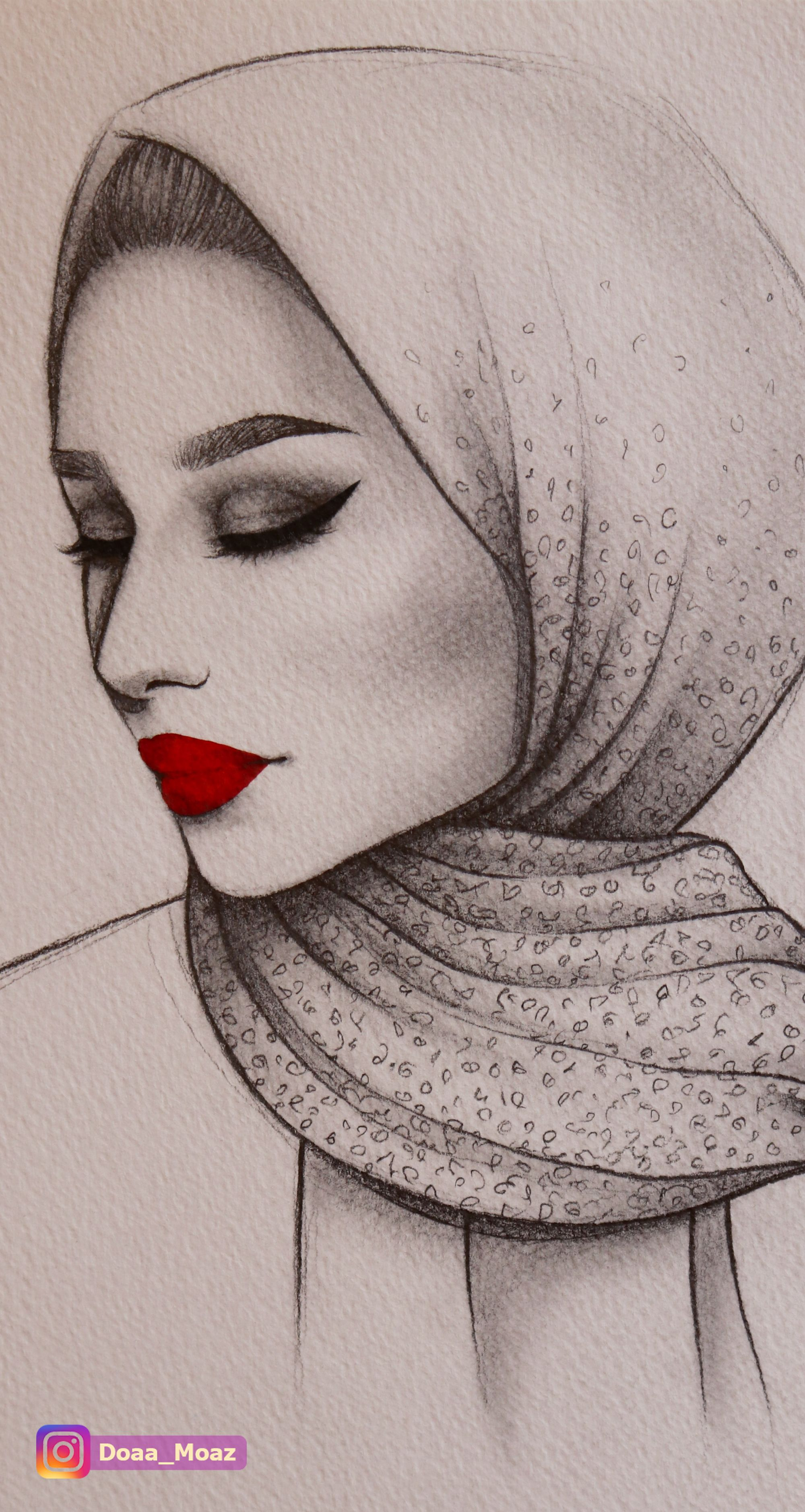 Pencil Sketch Using Hijab Girl