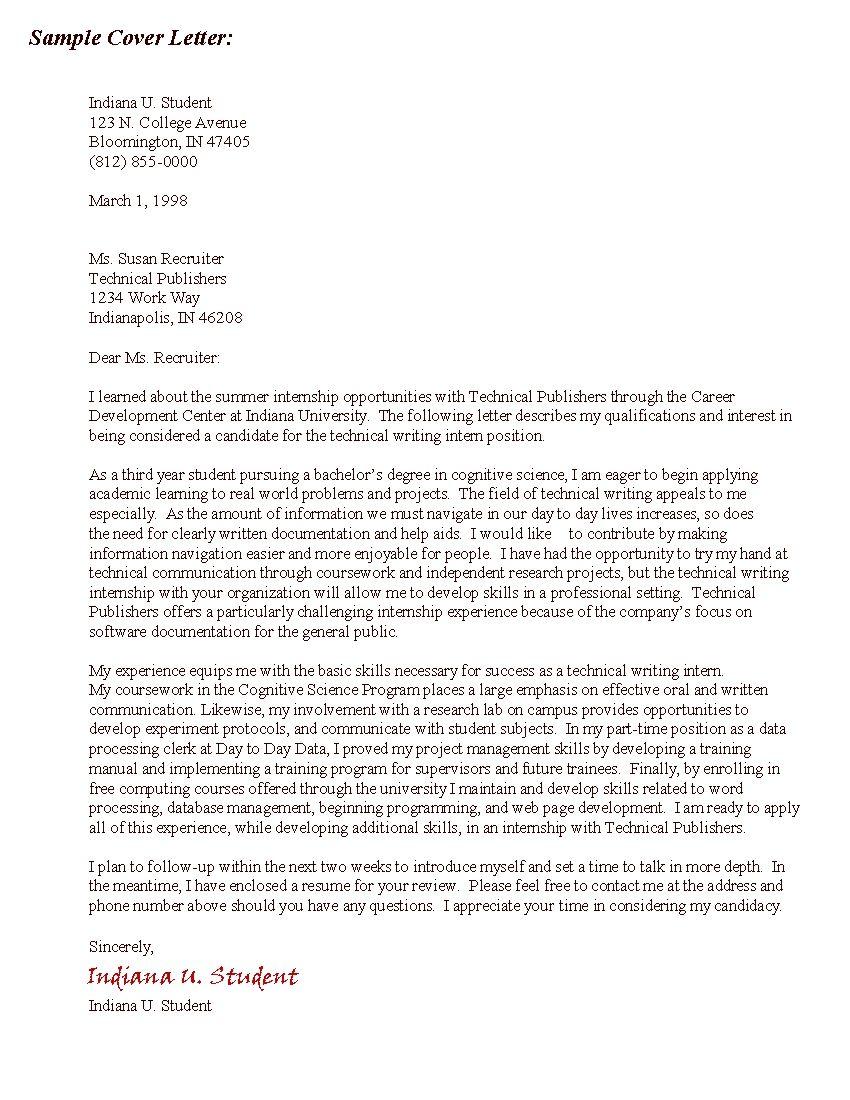 Cover Letter For Grad School Sample Cover Letter