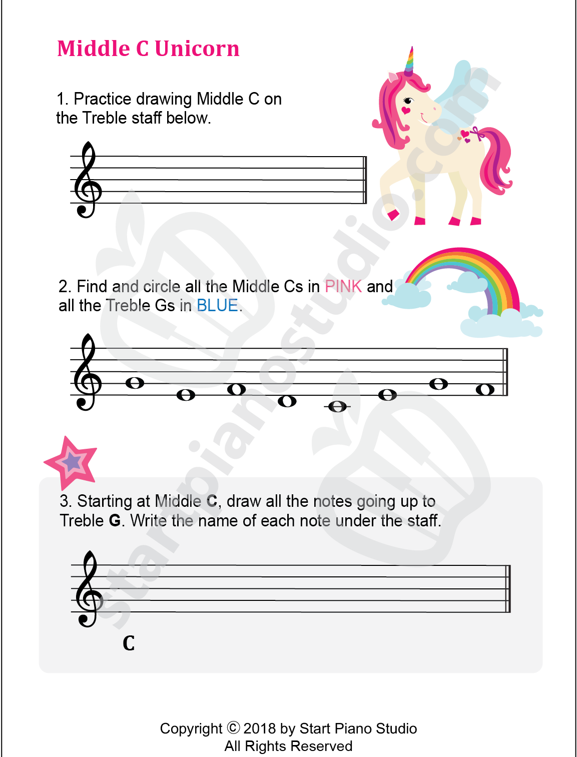 Middle C Unicorn Printable