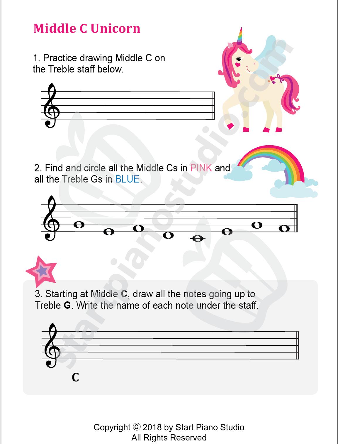 Middle C Unicorn Printable