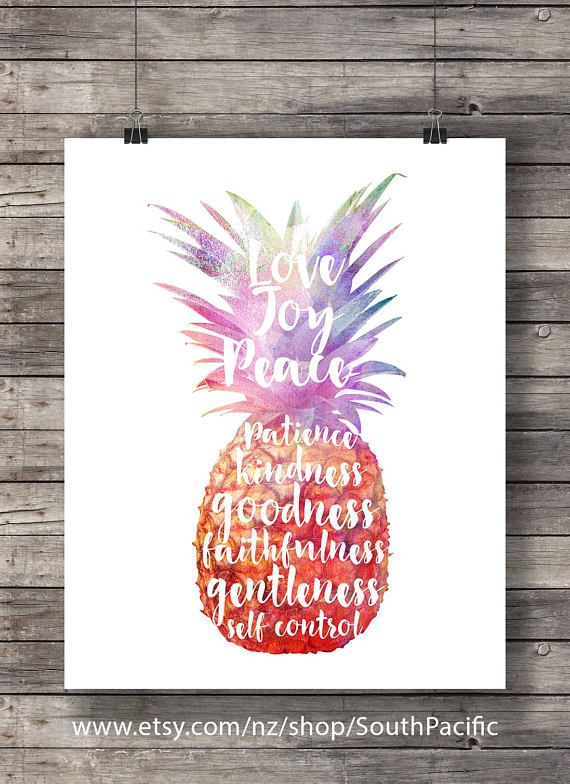 Fruit of the Spirit Galatians 5v22 Pineapplewatercolor typography ...