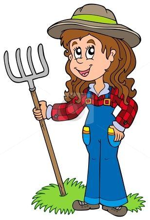 Cartoon Girl Female Characters | Cute farm girl stock ...