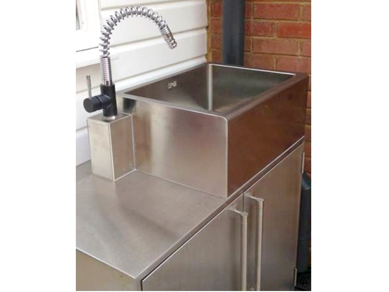 Angular Stainless Steel Sink And Cabinets Stainless Steel Sinks Outdoor Kitchen Commercial Kitchen