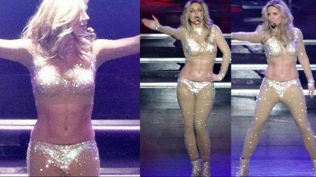 (P24).- Según el diario británico Daily Mail, la cantante Britney Britney optó por marcar su abdomen con maquillaje, una técnica más que conocida por las celebridades. Y es que la rubia mostró unas líneas muy distinguidas durante un ensayo para su show en Las Vegas.