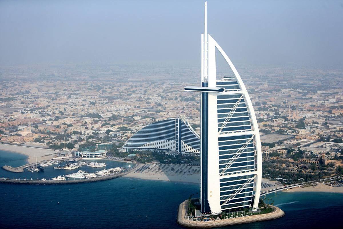 An aerial view of the great Burj Al Arab hotel, Dubai