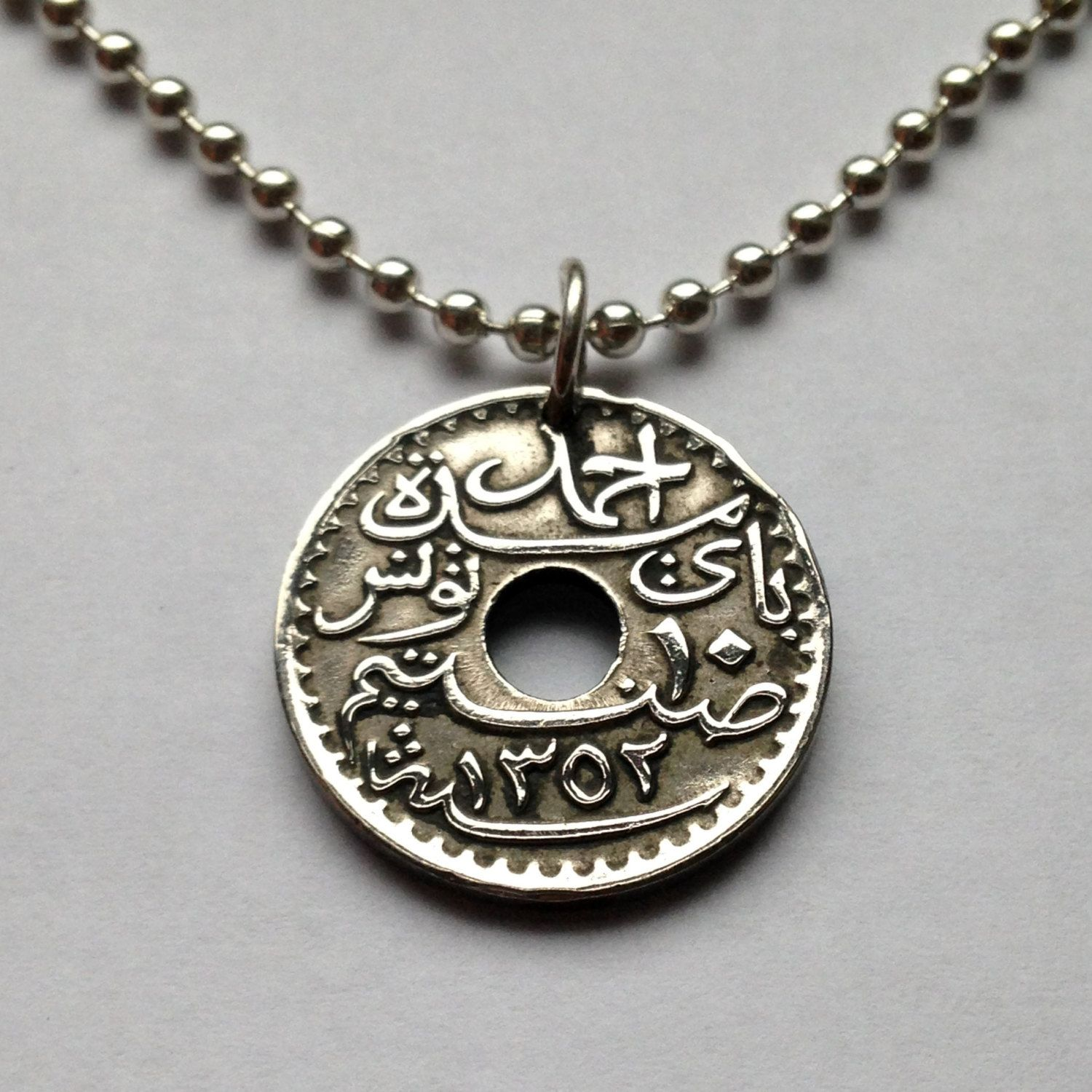 1933 Tunisia 10 Centimes Coin Pendant Charm Necklace Jewelry Arab Arabic Sunni Islam French Protectorate Occupation Ottoman E Coin Pendant Coin Jewelry Jewelry