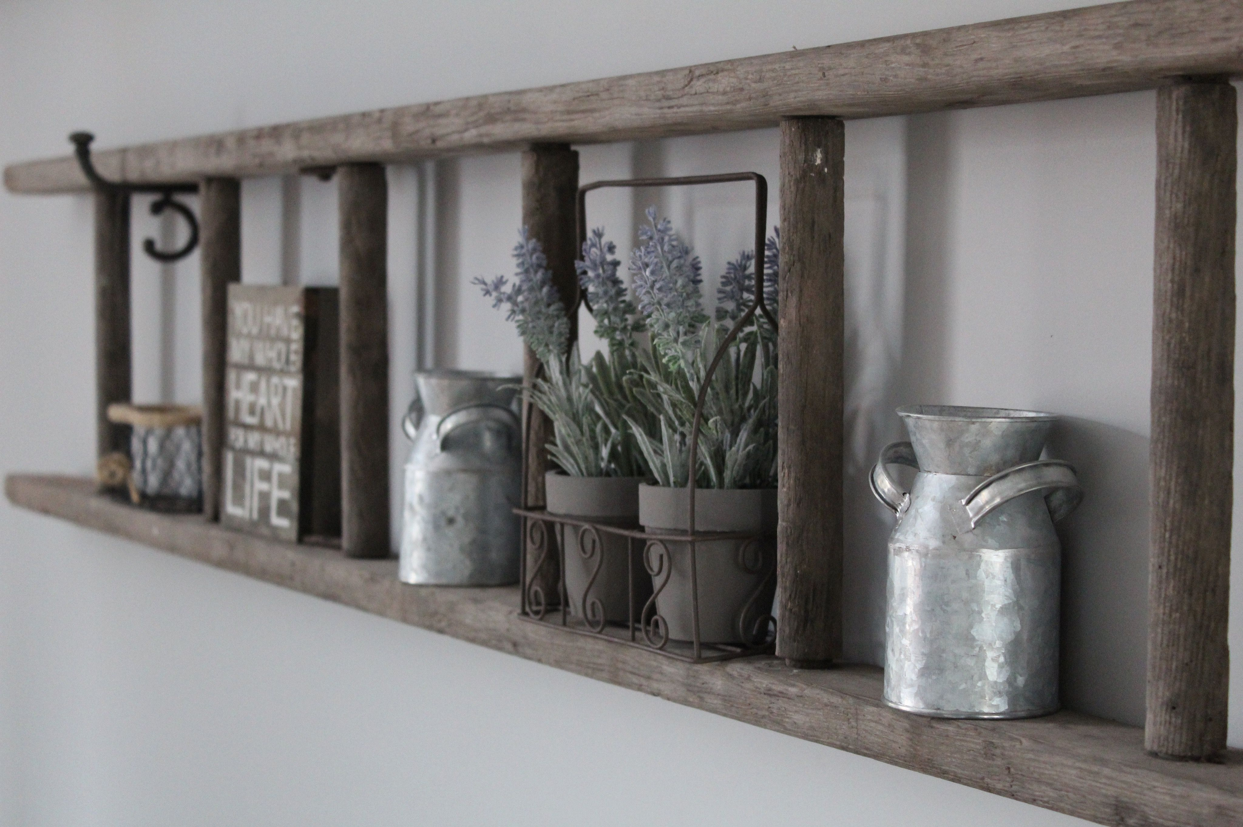 Rustic ladder shelves for the house in pinterest rustic