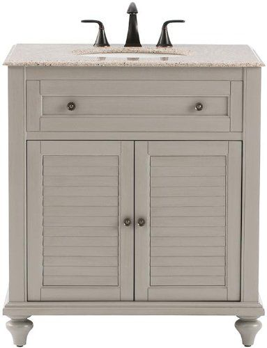Hamilton 31 w shutter bath vanity 35hx31wx22d grey home decorators collection bathroom for Bathroom vanities hamilton