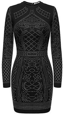 f8a3b7b12059 Black long sleeve rhinestone embellished club dress  www.finditforweddings.com Available in 9 colors