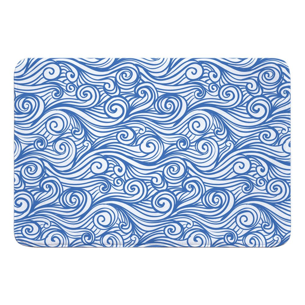 Dreamy Sea Blue Memory Foam Bath Mat Colorful Rugs Memory Foam