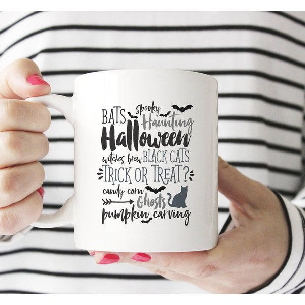 Sarah Hurley Halloween Personalised Message Mug (£14) ❤ liked on Polyvore featuring home, kitchen & dining and drinkware