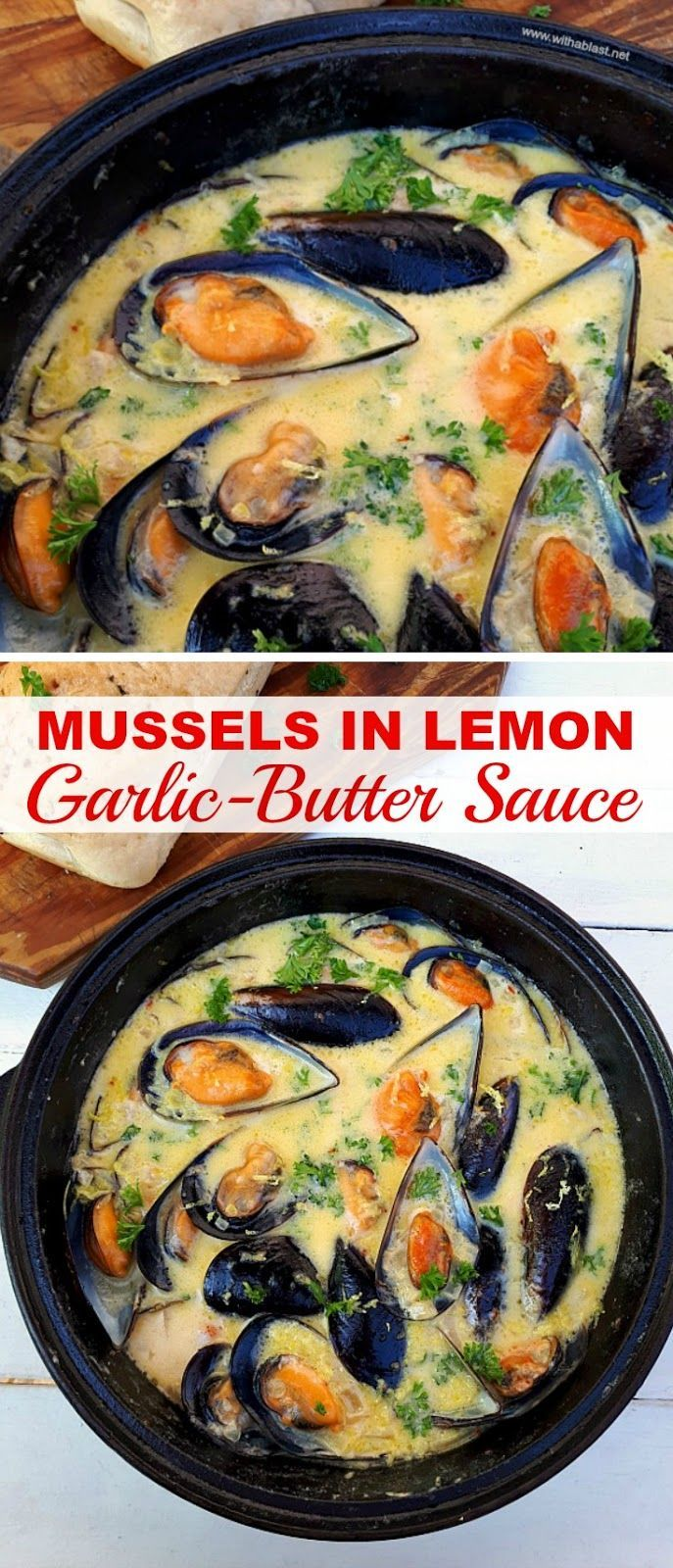 Mussels drenched in Lemon Garlic-Butter Sauce makes the perfect appetizer before... -  Mussels dren