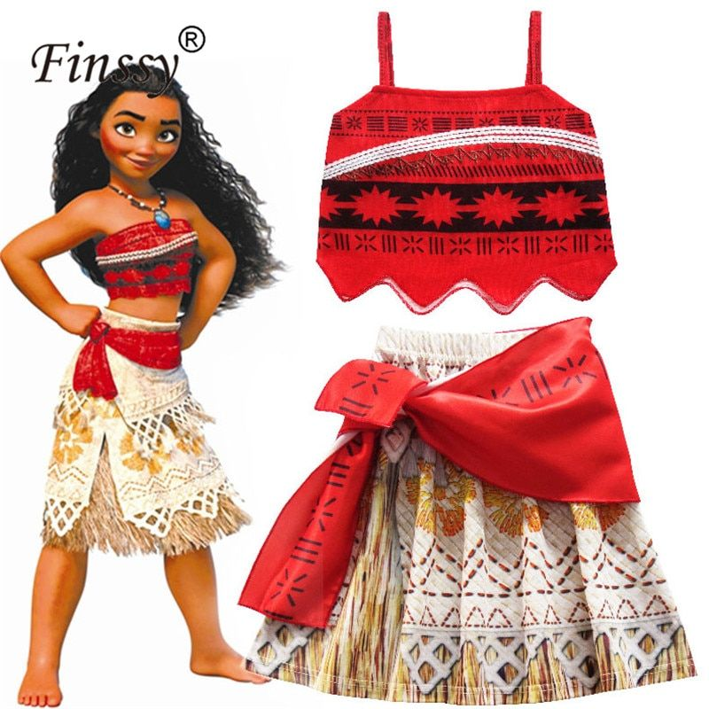 Toddler Girls Kids Baby Moana Cosplay Costume Top+Skirt Party Fancy Dress Set US