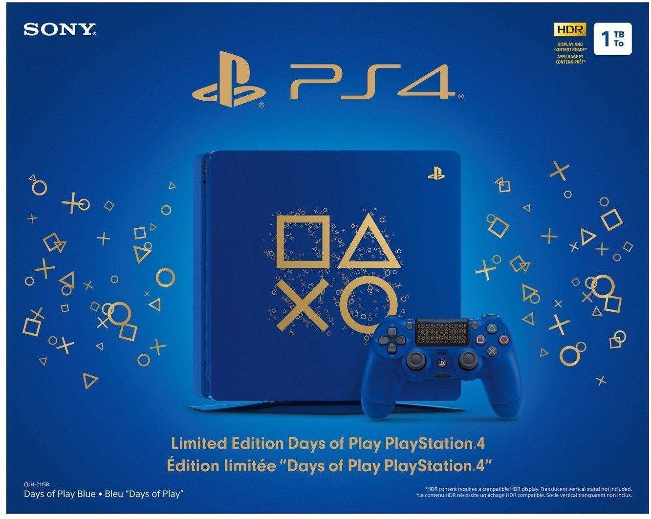 Sony Playstation4 Ps4 1tb Limited Edition Days Of Play Console Bundle New Juegos