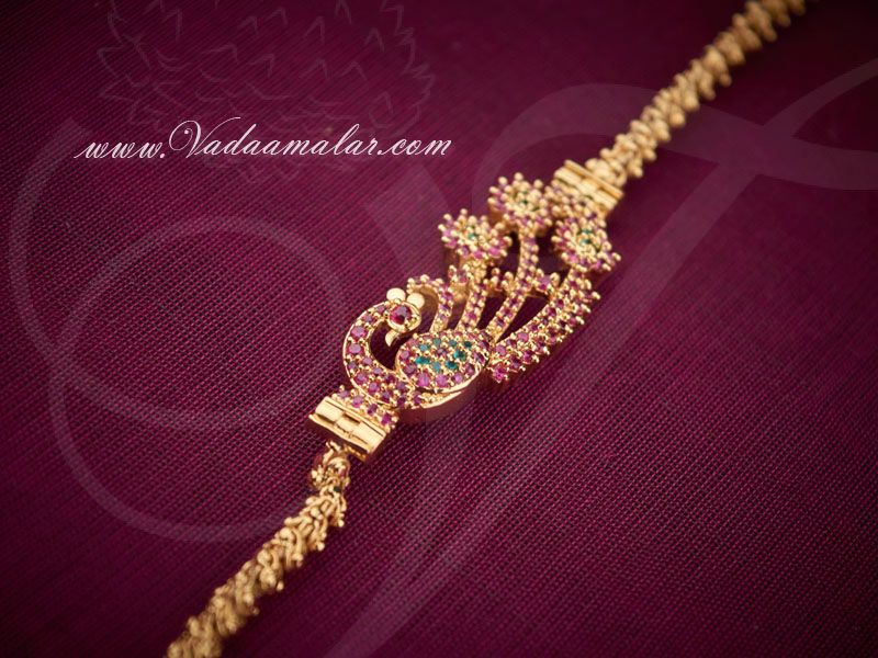 Peacock Design Side Pendant Mugappu Ruby Emerald Stones Black Beaded Jewelry Gold Bride Jewelry Gold Chain Design,Principles Of Two Dimensional Design