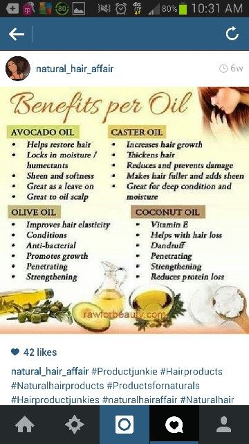 Benefits Of Natural Oil Avacado Oil Castor Oil Olive Oil And Coconut Oil Natural Hair Oils Natural Hair Styles Natural Hair Olive Oil