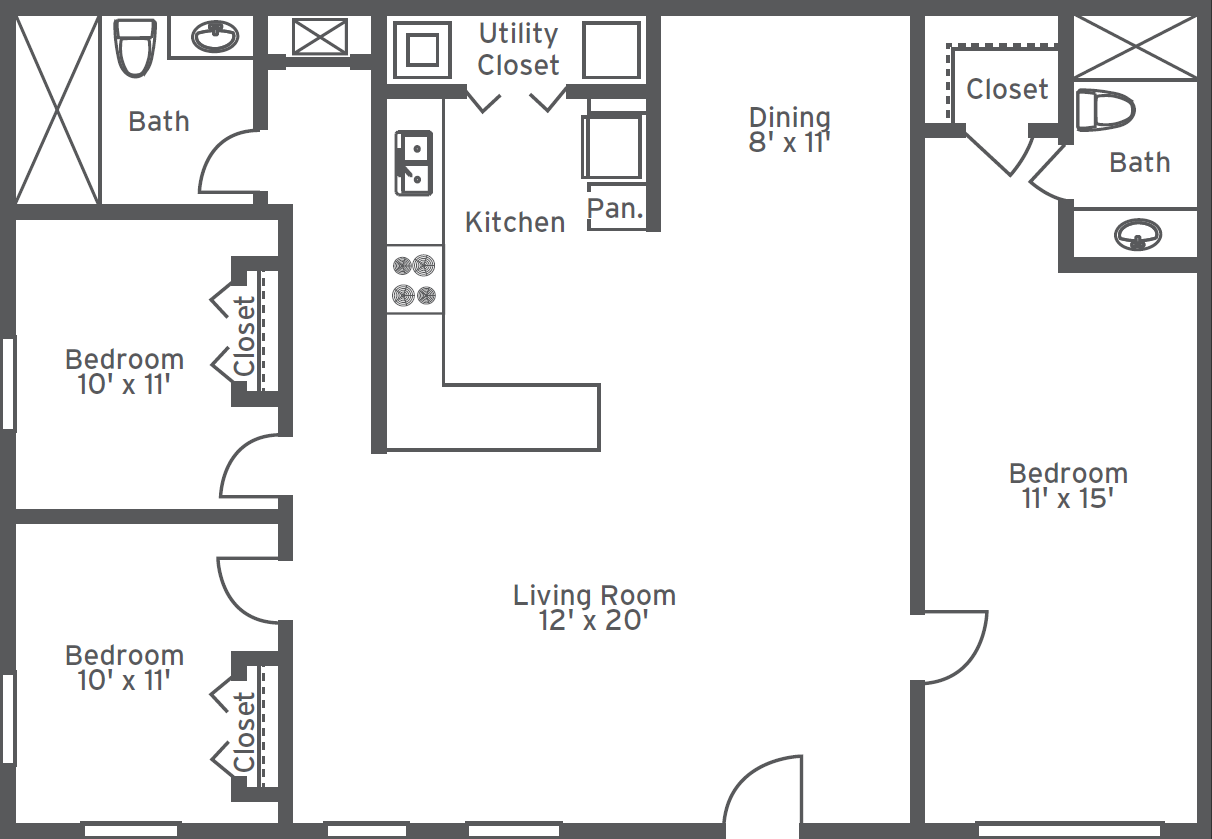 Floorplans 2 room google search floorplans pinterest 3 bedroom 1 bath floor plans