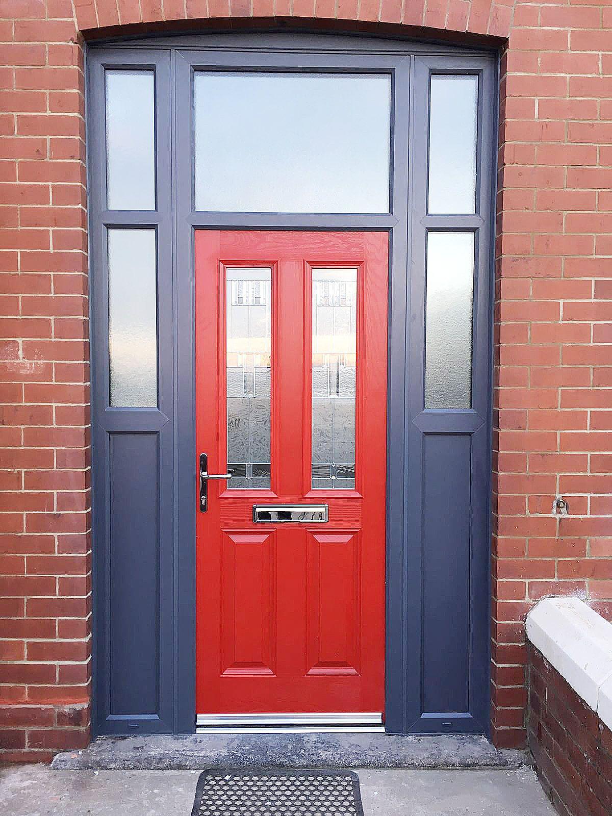 Unique Red Altmore Composite Door With Zinc Prairie Glass Design
