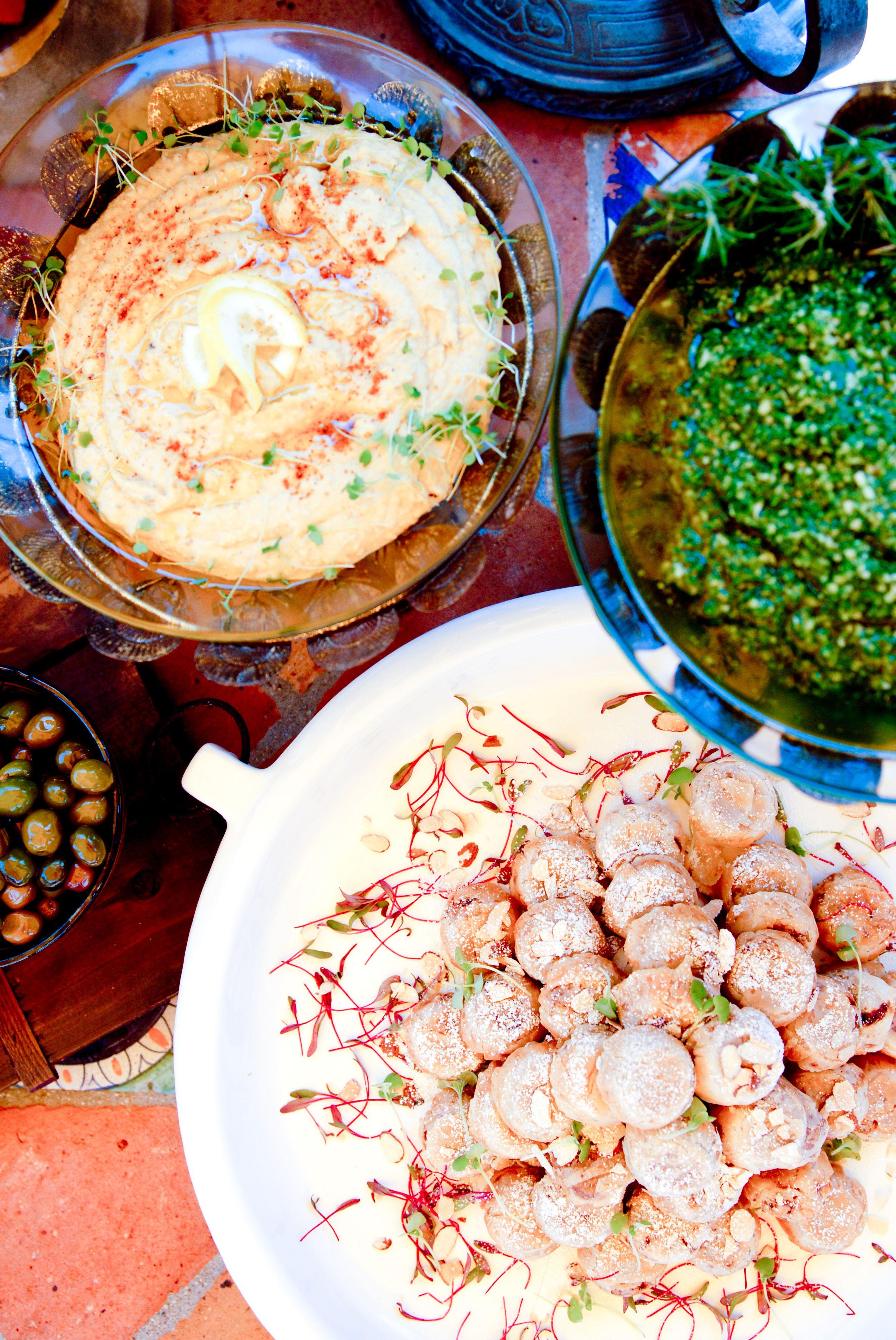 Mezze; Hummus, Arugula Pesto, Chicken Bisteeya