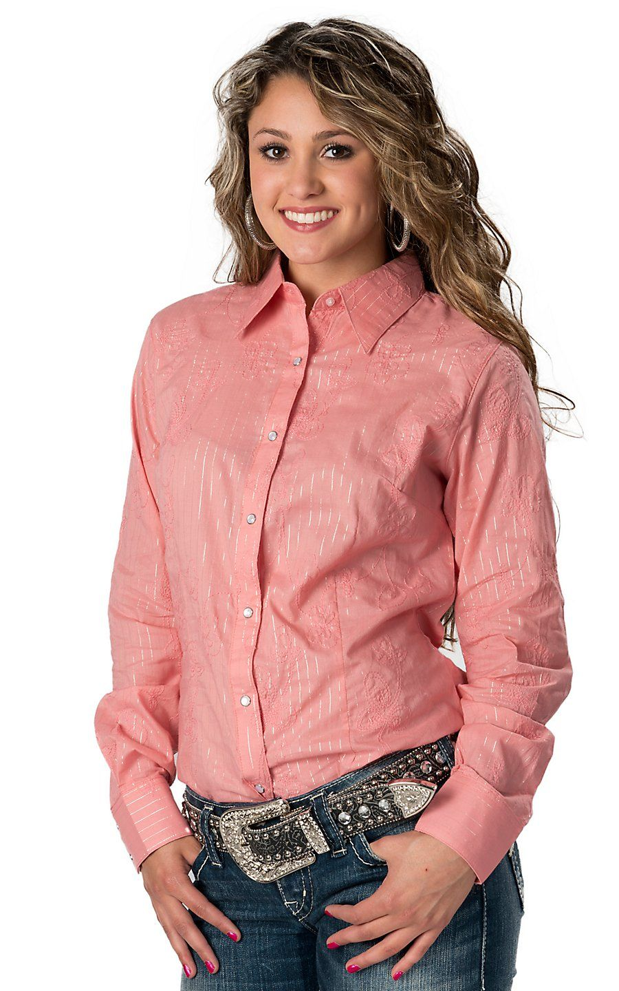 eacfe75a333b Wrangler Women's Pink with Floral Embroidery and Lurex Stripes Long Sleeve  Western Shirt