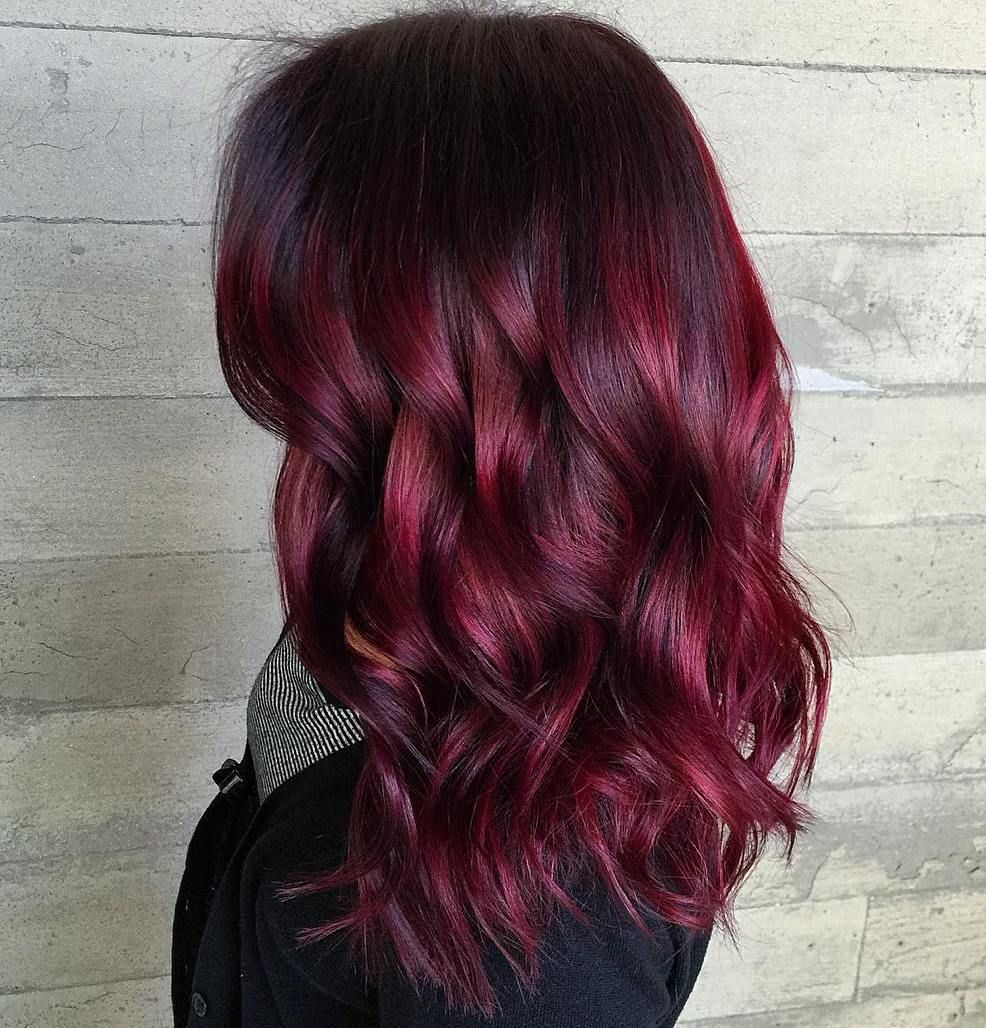 Picture of black and magenta balayage hair - 45 Shades Of Burgundy Hair Dark Burgundy Maroon Burgundy With Red Purple
